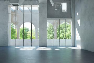 Leere Halle als Raum für Büro