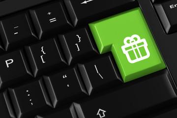 Geschenk als Symbol auf Tastatur