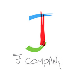 Vector initial letter J, scrawled text