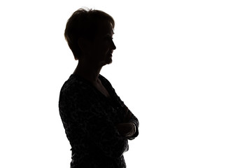 Photo of silhouette adult woman in profile