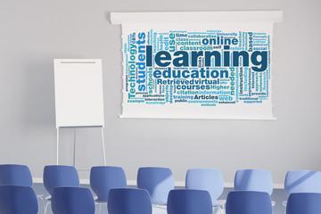 Tag Cloud zum Thema Lernen im Seminarraum