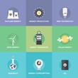 World energy resources flat icons set