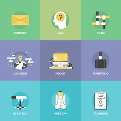 Business organization elements flat icons set
