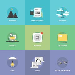 Modern business development flat icons set