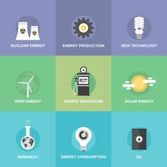 World energy resources flat icons set