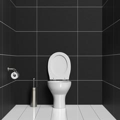 WC mit Toilette und Klobürste
