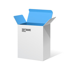 Software Package Box Opened White Inside Blue