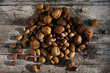 Nuts mixed, unshelled in kernels, walnuts, hazelnuts and almonds