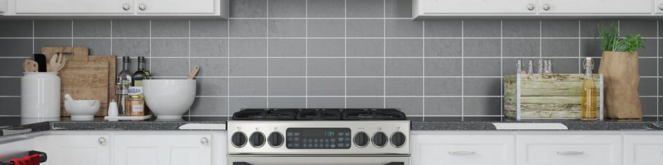 Panorama einer Küche mit Herd