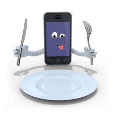 smartphone cartoon in front of a empty dish