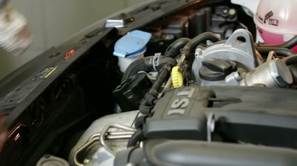 Car Repair Mechanic Checking the Oil Level
