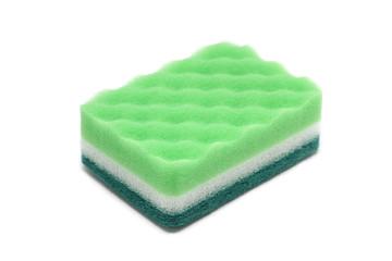 kitchen sponge for washing dishes on white background