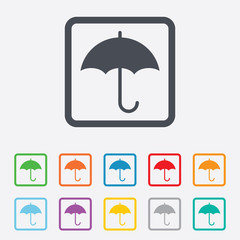 Umbrella sign icon. Rain protection symbol.
