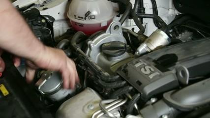 Car Repair Mounting the Oil Filter