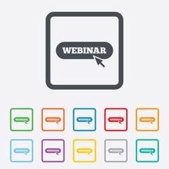 Webinar with cursor pointer sign icon. Web study