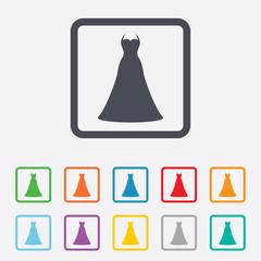 Wedding dress sign icon. Elegant bride symbol.