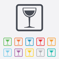 Wine glass sign icon. Alcohol drink symbol.