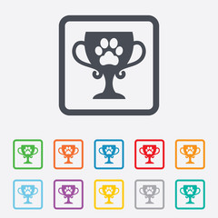 Winner pets cup sign icon. Trophy for pets.
