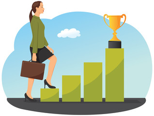 Businesswoman is stepping on a chart bar to a gold trophy cup