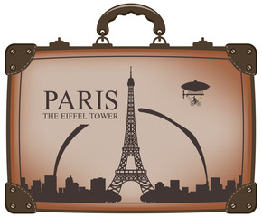 travel bag with Paris and the Eiffel Tower