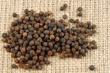 black pepper on hessian fabric