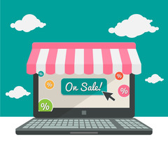 Online shopping sales and shop business template, colored labels