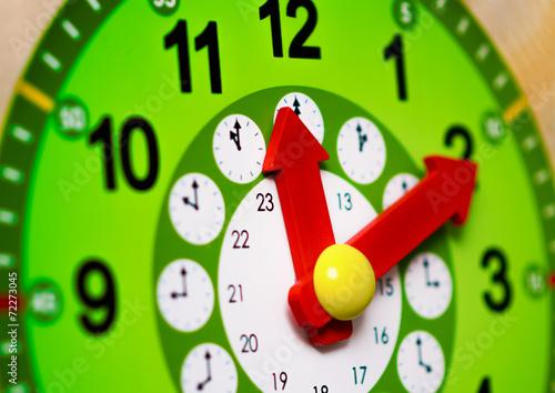 Leinwanddruck Bild Green clock with red arrows