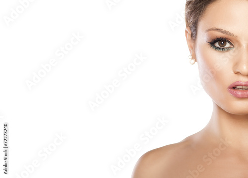 canvas print picture Half portrait of beautiful young woman on white background