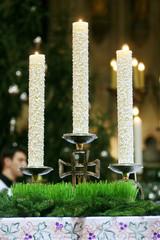 Candles on church altar