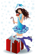 Santa shopping girl with xmas ball, vector