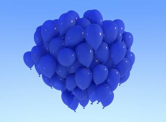 Palloncini blu, festa, biglietto auguri, cielo