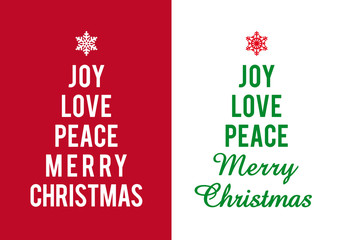 Christmas cards with typographic trees, vector
