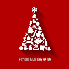 Vector christmas tree made from various shapes