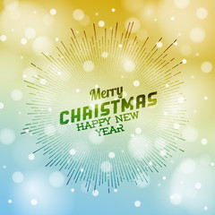 Retro christmas label on blurred background