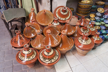 Traditional moroccan pottery shop in Marrakesh, Morocco