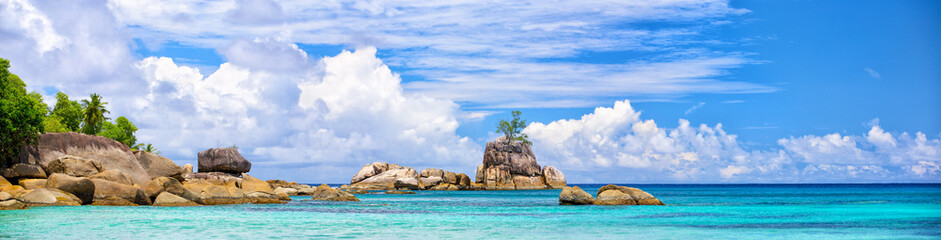 Mahe coastline panorama with typical granite rocks, Seychelles