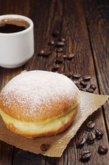 Coffee and sweet doughnut