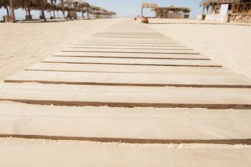 Wooden walkway on a beach