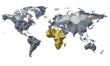 Earth Map Metalic Continents with Golden Africa