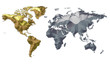 Earth Map Metalic Continents with Golden America