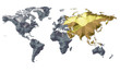 Earth Map Metalic Continents with Golden Asia