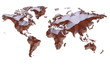 Earth Map Continents Warm Color On White