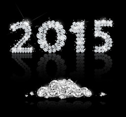 Brilliant text for the new year 2015 with diamonds. Vector