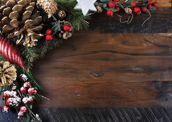 Traditional Christmas background on dark recycled wood
