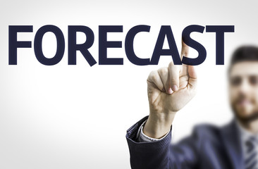 Business man pointing to transparent board with text: Forecast