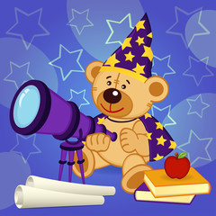 teddy bear astronomer - vector illustration, eps