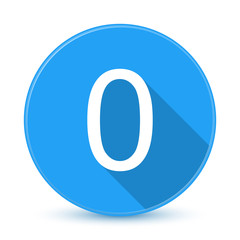 Blue 0 flat icon button with long shadow
