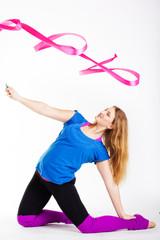 Dancer gymnastic girl with ribbon