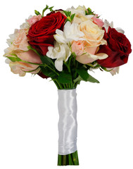 Bridal rose bouquet on their own stems