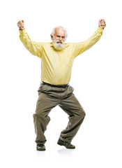 Happy old bearded man jumping
